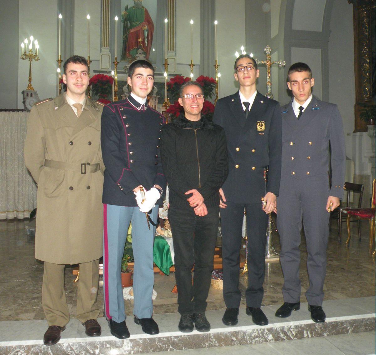 I tre allievi casertani delle scuole militari delle tre Forze Armate Italiane