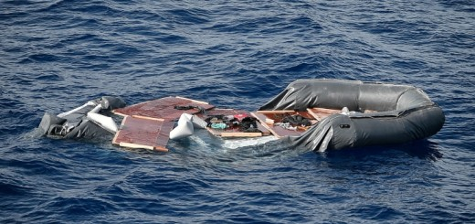TOPSHOT - A deflated rubber boat in seen at the sea, after the Libyan Coast Guard intercepted migrants aboard,  some 25 nautical miles off the Libyan coast on May 8, 2018. - Italy's coast guard  granted authorization for 105 migrants rescued at sea  by a Spanish NGO Open Arms to transfer to the Aquarius after nearly two days of diplomatic standoff. Rome decided on May 7 evening to allow 105 migrants to land in Italy following an ordeal that saw them kept at sea while the Italians and British stalled on a decision. (Photo by LOUISA GOULIAMAKI / AFP)        (Photo credit should read LOUISA GOULIAMAKI/AFP/Getty Images)