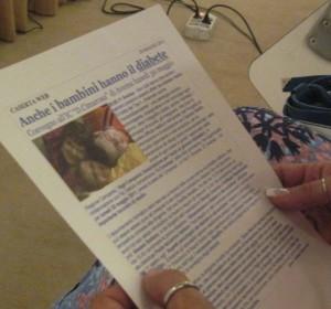 Anche i bambini hanno il diabete - fotocopia d'un articolo