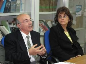 Il paleografo Giancarlo Bova con Cristina Alpopi dell'Università di Bucarest