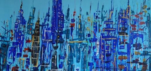 Ridotta Autore Leonardo Pappone Leopapp titolo City 21 tecnica misto acrilico su tela formato 90x140 cm anno 2019